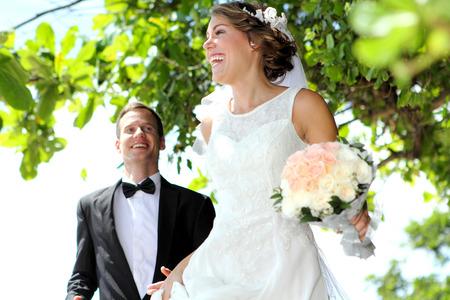 newlywed couple: joy of newlywed couple full of happiness