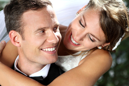 smile close up: close up portrait of beautiful smile from romantic couple Stock Photo