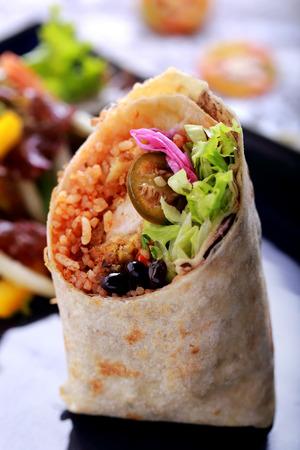burrito: close up portrait of mexican cuisine burritos prawn queiro