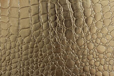 currying: A portrait of Seamless pattern of crocodile textured leather with gold color Stock Photo