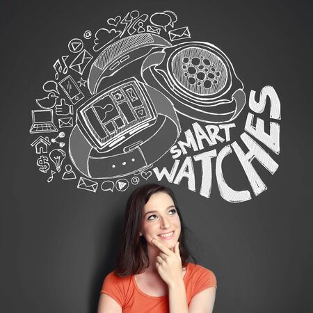 smart woman: Happy young woman looking up to the illustration of the concept of modern smart watch