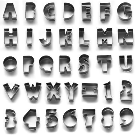 metal alphabet: A portrait of Metal alphabet symbol, isolated in white background