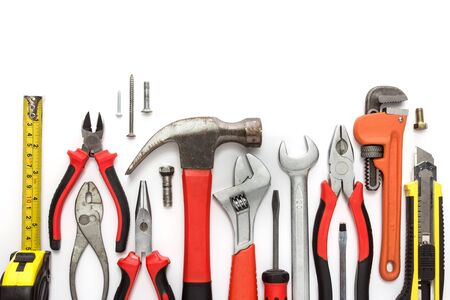 peen: A portrait of a Mechanical kit or construction tool isolated in white background Stock Photo