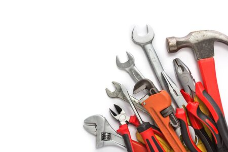 mates: mechanical kit in wooden background. construction tool Stock Photo