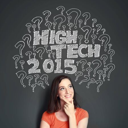 woman looking up: woman looking up to the illustration of what will be the new hightech technology on 2015