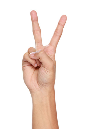 winning bid: A portrait of hand gestures counting two, isolated in white background