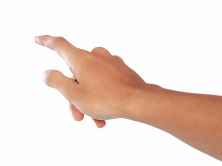hands index finger: A portrait of forefinger pressing imaginary button, hand gesturing, isolated in white background
