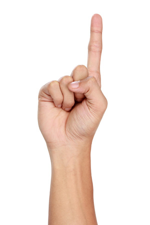 hands index finger: A portrait of hand gestures counting one, isolated in white background Stock Photo