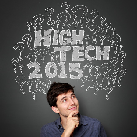 man looking up: man looking up to the illustration of what will be the new hightech technology on 2015