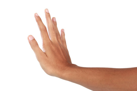 A portrait of hand showing push gesture, isolated in white background