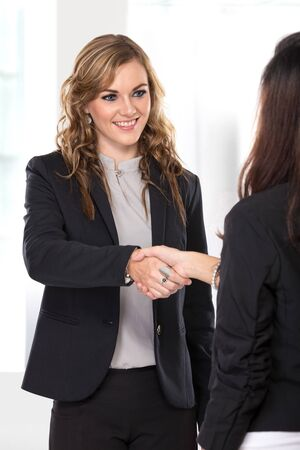 deal making: A portrait of a two young businesswoman making a deal and shaking hands