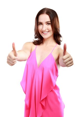 two thumbs up: beautiful caucasian woman with two thumbs up