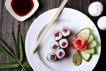 food dish: top view portrait of japanese tuna roll sushi