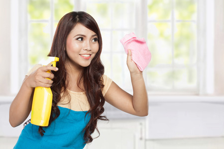 doing chores: A portrait of a beautiful young asian woman doing chores, holding sprayer and pink rag Stock Photo