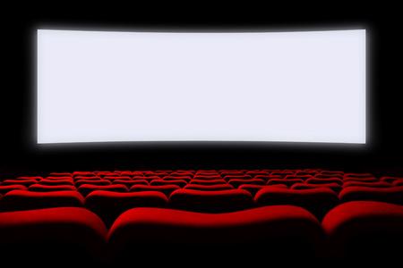Het portret van de cinema auditorium met stoelen en het scherm