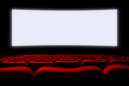 portrait of cinema auditorium with seats and screen