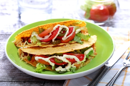 serving dish: portrait of mexican taco classic minced beef with serving dish