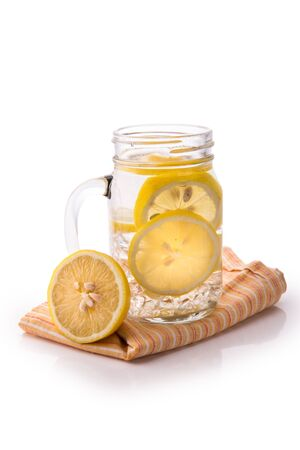 lemon water: Summer fresh fruit Flavored infused water mix of lemon isolated over white background