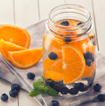 infused: Summer fresh fruit Flavored infused water mix of orange, blueberry and mint