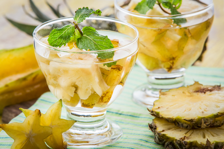 pineapple  glass: Summer fresh fruit Flavored infused water mix of pineapple and star fruit