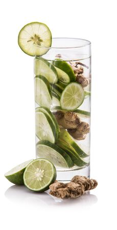 lime juice: Summer fresh fruit Flavored infused water of lime and ginger