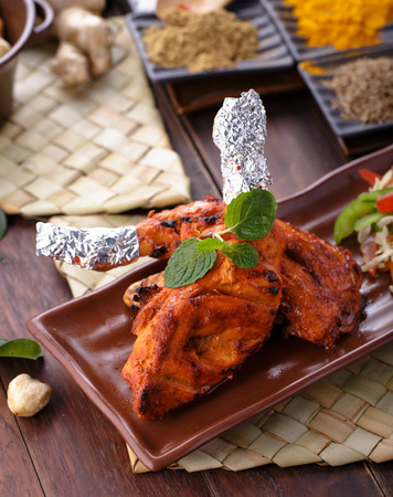portrait of spicy indian tandoori chicken ready to eat