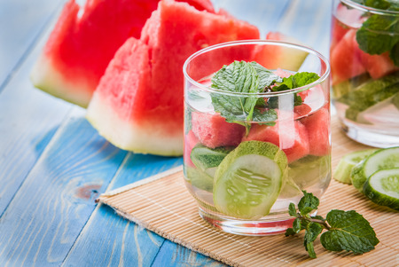 Summer fresh fruit Flavored infused water mix of cucumber, watermelon, and mint leaf Stok Fotoğraf - 43524987