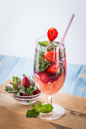 fruit background: Summer fresh fruit Flavored infused water mix of strawberry, mint leaf, and grapefruit