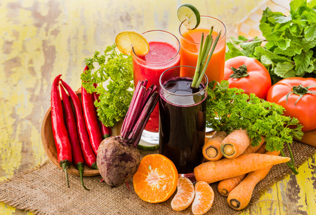 fruits juice: portrait of some healthy fresh juice with ingredients