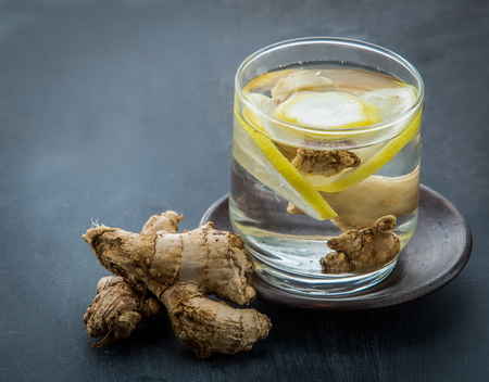 lemon water: Summer fresh fruit Flavored infused water mix of ginger and lemon