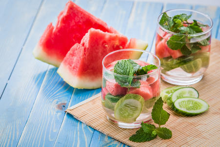 infused: Summer fresh fruit Flavored infused water mix of cucumber, watermelon, and mint leaf