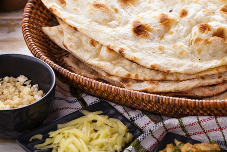 naan: close up portrait of indian naan bread and paneer Stock Photo