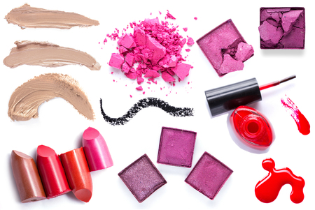 smudge: set of Scratch lipstick, blush on, powder and make up cosmetics collection