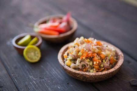 sambal: A portrait of Sambal matah, Bali traditional sauce. indonesian condement. close up
