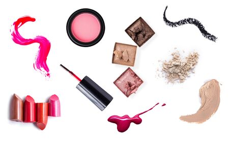 cosmetic product: set of Scratch lipstick, blush on, powder and make up cosmetics collection