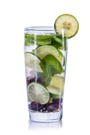 grape fruit: fresh fruit Flavored infused water mix of grape, lime and mint .isolated over white background