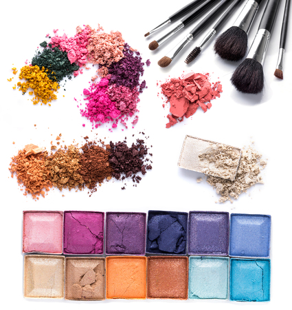 cosmetics collection: set of Scratch lipstick, blush on, powder and make up cosmetics collection