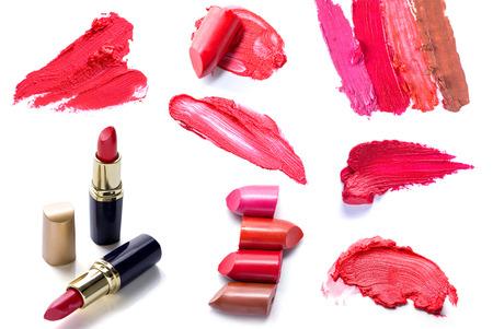 スクラッチ口紅とメイク化粧品のコレクションのセット 写真素材