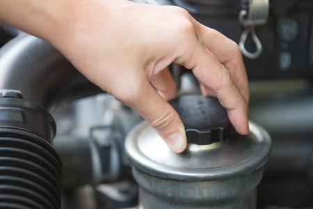 tanque de combustible: Un retrato de una mano la comprobación de aceite de dirección asistida, relacionado máquina