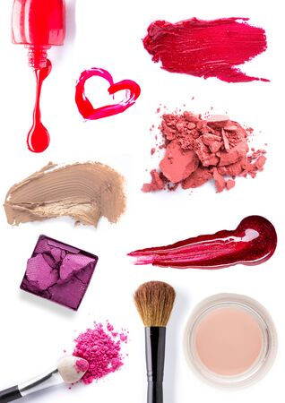 of cosmetics: set of Scratch lipstick, blush on, powder and make up cosmetics collection