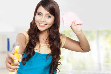 domestic chores: A portrait of a beautiful young asian woman doing domestic chores, holding sprayer and pink rag