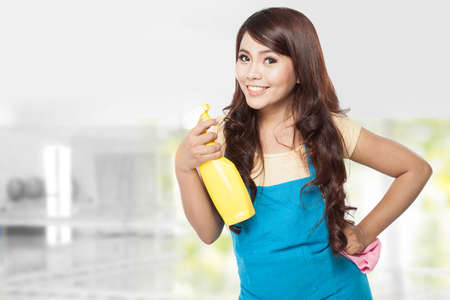 domestic chores: A portrait of a beautiful young asian woman doing domestic chores, holding yellow sprayer and pink rag