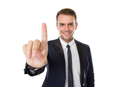 point: portrait of Businessman pressing in a invicible button, smiling. ready for your design