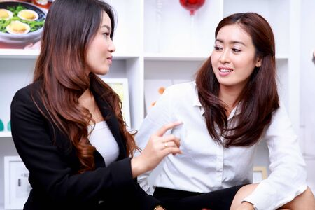 relation: portrait of two businesswomen disscussing ideas at living room Stock Photo