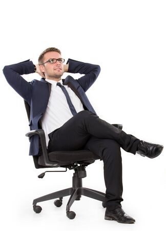portrait of Businessman thinking while sitting, isolated over white background Stok Fotoğraf
