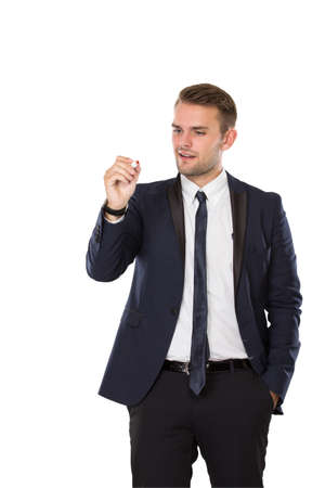 invincible: portrait of Businessman using a pen, writing on invicible board. isolated over white background