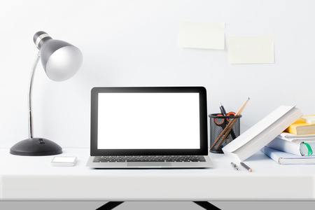front desk: full portrait of modern workspace desktop on white background