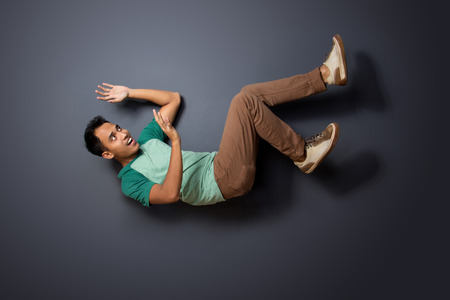 exaggerate: portrait of young man posing fall. ready for your design