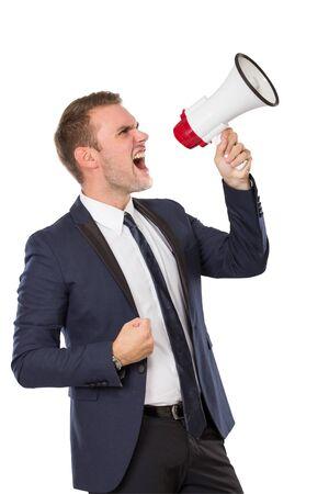 businessman using a megaphone: portrait of Businessman using a megaphone, screaming. isolated over white background