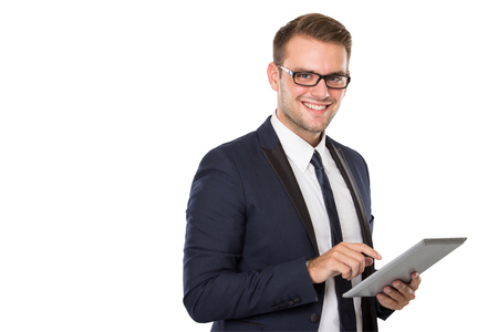 portrait of Businessman holding a tablet pc, look at the camera smiling. ready for your design 스톡 콘텐츠